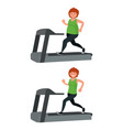a fat woman is running on a treadmill and losing vector image