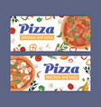 ad banner with meat and vegetarian pizzas on white vector image vector image