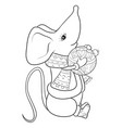adult coloring bookpage a cute mouse holding a vector image vector image
