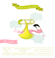 baby shower or arrival card - flamingo girl vector image vector image