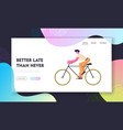 bike rider website landing page man cyclist vector image vector image