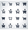 black shopping cart icon set vector image vector image