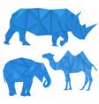 Blue rhinoceros elephant and camel polygonal