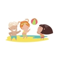 Children playing beach volleyball vector image vector image