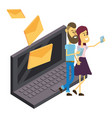 couple and email technology isometric vector image vector image