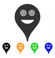 crazy smiley map marker icon vector image
