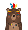 cute bear have headdress with feathers on head vector image vector image