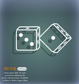 dices icon On the blue-green abstract background vector image