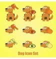 Dog icons set on a yellow background vector image vector image
