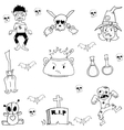 Doodle of zombie and ghost Halloween vector image vector image
