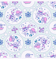 doodle seamless pattern sailor and fish vector image vector image