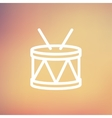 Drum with stick thin line icon vector image vector image