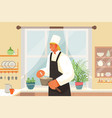 eating out restaurant kitchen man in uniform vector image vector image