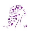 Female head spa concept for your design vector image vector image