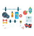 fitness top view sport equipment for training gym vector image