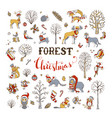 forest christmas set vector image vector image