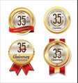 golden badge anniversary collection 35 years vector image vector image