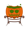 halloween witch cauldron with a pumpkin shape vector image