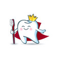 icon cartoon healthy tooth in the crown holding a vector image