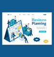 isometric businessmen make a business plan vector image