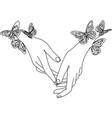 line hands with butterflys continuous one vector image