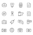 Lines icon set - camera and accessory vector image