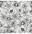 Monochrome Floral Seamless Pattern with Blooming vector image vector image