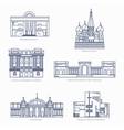 Monuments thin line icons Shanghai museum vector image vector image