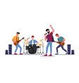musical band at rock festival guitar mic drum vector image