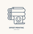 offset printer with printed paper flat line icon vector image vector image