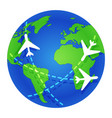 planes fly around globe journey planet earth