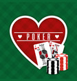 poker sign heart cards and chips gamble green vector image