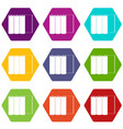 rolls of paper icon set color hexahedron vector image vector image