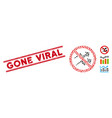 scratched gone viral line stamp and mosaic vector image vector image