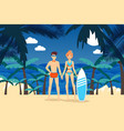 sea activities result surfing on tropical island vector image