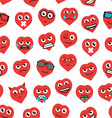 seamless background of heart emoticons vector image vector image