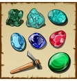 set seven types raw gemstones and kirk vector image