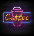 shining and glowing neon coffee sign in frame vector image vector image