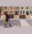stylish girl walking in new york city vector image