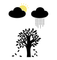 sun and rain with tree vector image vector image