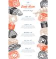 sushi menu design vector image vector image