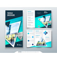 tri fold brochure design blue template for tri vector image vector image