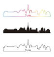 Turin skyline linear style with rainbow vector image vector image