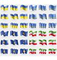 Ukraine Aruba Kosovo Somaliland Set of 36 flags of vector image vector image