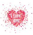 valentines day red background with hearts love vector image