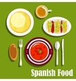Vegetarian dishes of spanish cuisine vector image
