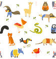 wild american animals and birds seamless pattern vector image vector image