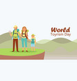 world tourism day with tourists family father vector image vector image