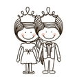 silhouette girl and boy standing with crown vector image