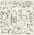 beige seamless patterns with red wine set cask vector image